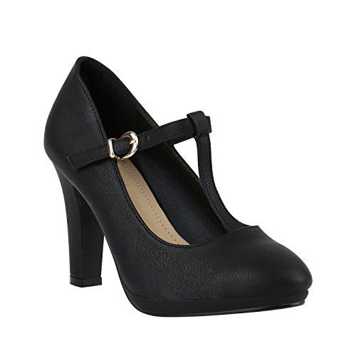 Damen Pumps T-Strap Spitze High Heels Riemchenpumps Stilettos Zierperlen Nieten Schuhe 142101 Schwarz Total Schnalle 39 Flandell