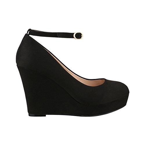 sports shoes 5739b a449f Elara Damen Pumps | Keilabsatz Wedges Plateau Schuhe | Chunkyrayan JA155  Black-40