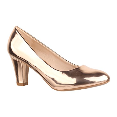 Elara Damen Pumps | Bequeme High Heels Lackoptik Trichterabsatz | Vintage-Style | Chunkyrayan 7056-P-Champagner-38