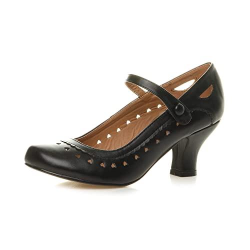 Damen Herzmuster Mary Jane Mittlerer Absatz Feinmachen Pumps Schuhe Größe 38 5