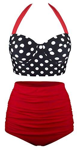 EasyMy Damen High Taille Bikini Sets Vintage Bademode, Schwarz, EU 42-44Tag Size 2XL