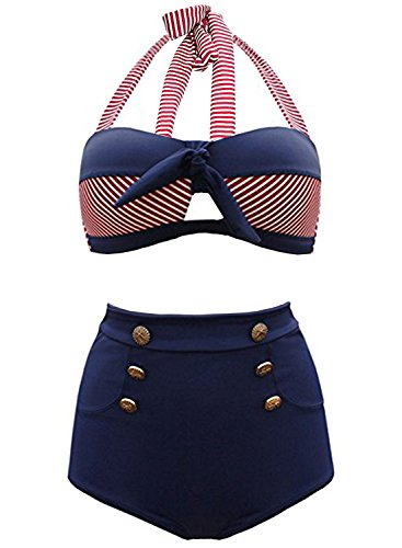 Futurino Damen Frühjahr/Sommer Vintage Retro Nautical Sailor Bügel Push Up Bikini Sets Bademode (EU42, Marine)