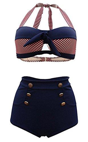 SISSIJOE Damen Bunt Retro PinUp Vintage Bikini mit hoher Taille Bademode Badeanzug Streifen Rot Medium