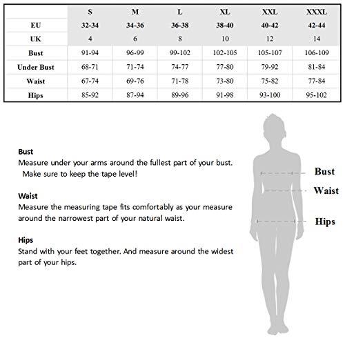 Vintage Bademode mit Faltenwurf hohe Taille Bikini Set Badeanzug High Waist Push Up Swimwear Neckholder (EU 32-34, Weiß) - 6