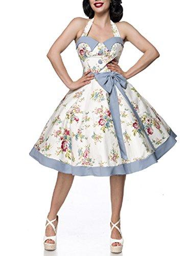 Süßes Neckholer Vintage-Kleid Retro dekorativen Knöpfen 2 Farben (blau/rosa/weiß)