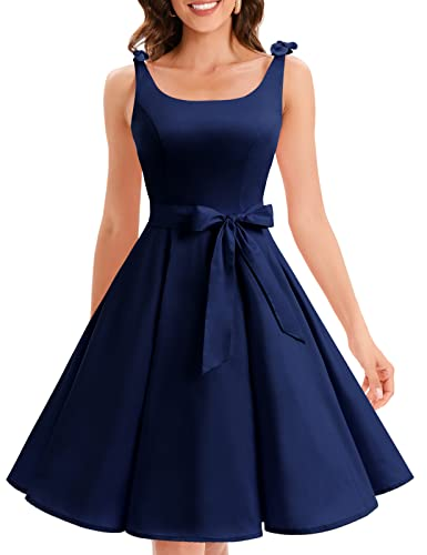 Bbonlinedress 1950er Vintage Polka Dots Pinup Retro Rockabilly Kleid Cocktailkleider Navy S
