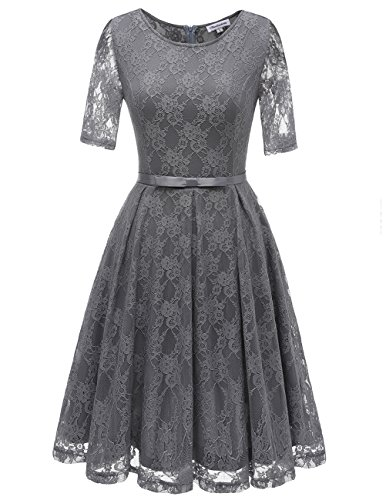 Bbonlinedress damen retro vintage 1950er rockabilly cocktail spitzenkleid grey 2xl - Rockabilly outfit damen ...