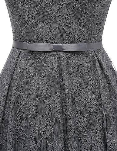 Bbonlinedress Damen Retro Vintage 1950er Rockabilly Cocktail Spitzenkleid Grey 2XL - 4
