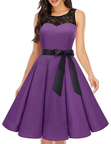 bbonlinedress 1950er Ärmellos Vintage Retro Spitzenkleid Rundhals Abendkleid Purple 3XL