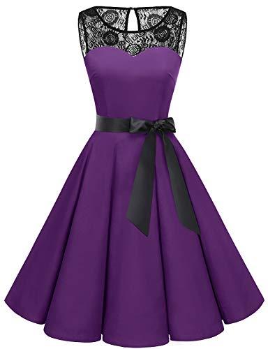 bbonlinedress 1950er Ärmellos Vintage Retro Spitzenkleid Rundhals Abendkleid Purple 3XL - 2