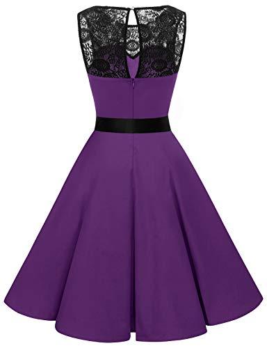 bbonlinedress 1950er Ärmellos Vintage Retro Spitzenkleid Rundhals Abendkleid Purple 3XL - 3