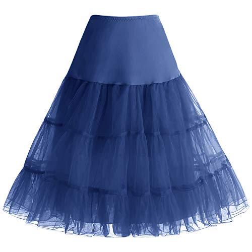 bbonlinedress Organza 50s Vintage Rockabilly Petticoat Underskirt Navy S