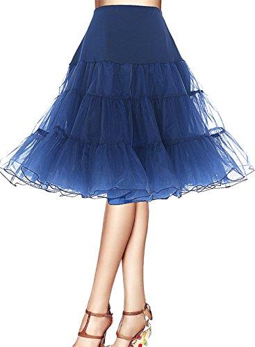bbonlinedress Organza 50s Vintage Rockabilly Petticoat Underskirt Navy S - 7