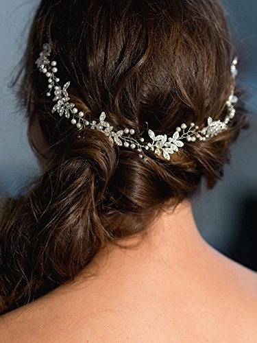 Handmadejewelrylady - Hochzeits-Kristall-Strass-Stirnband, Haarschmuck im Weinrebenstil, Damenkopfschmuck für Abendfeiern