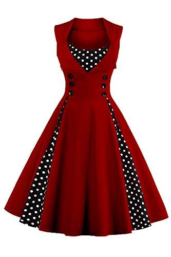 Damen kleider 50er jahre stil Vintage Polka Dots Knielang Wein Rot 4XL