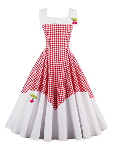 VKStar® 50er Rockabilly Kariert Kleid Petticoat Vintage ärmellos Kirschen Abendkleid Rot S