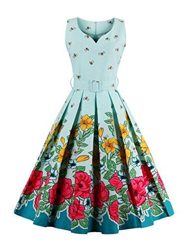 VKStar® Damen 50s Vintage Retro Rockabilly kleid Blumen Kleid Sommerkleid Cocktailkleid Swing Kleid Hellblau L