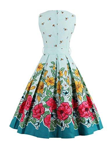 VKStar® Damen 50s Vintage Retro Rockabilly kleid Blumen Kleid Sommerkleid Cocktailkleid Swing Kleid Hellblau L - 2