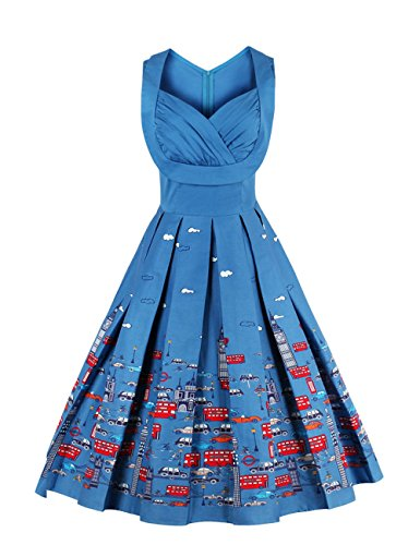 VKStar Vintage 50er Stoffdruck Cocktailkleid ärmellos Abendkleid Retro Swing Rockabilly Ballkleid Blau 3XL