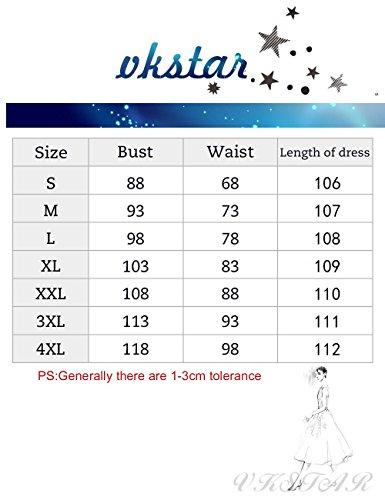 VKStar Vintage 50er Stoffdruck Cocktailkleid ärmellos Abendkleid Retro Swing Rockabilly Ballkleid Blau 3XL - 5