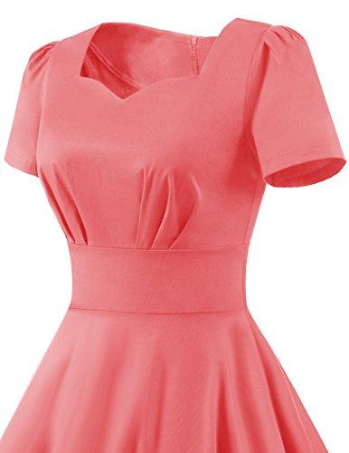 Dresstells Damen Vintage 50er Rockabilly Kurzarm Swing Kleider Partykleid Pink L - 2