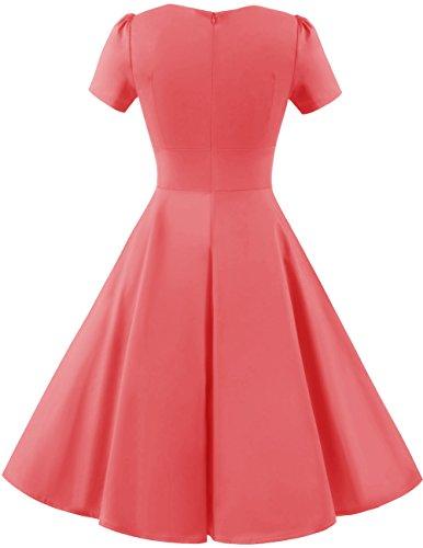 Dresstells Damen Vintage 50er Rockabilly Kurzarm Swing Kleider Partykleid Pink L - 3