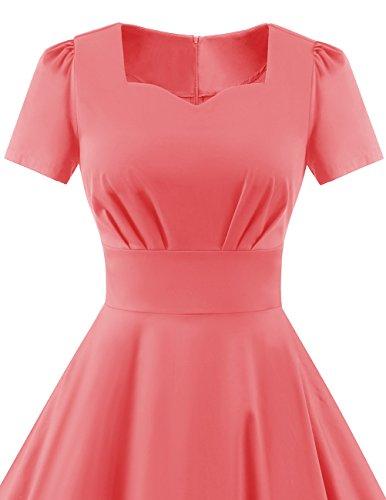Dresstells Damen Vintage 50er Rockabilly Kurzarm Swing Kleider Partykleid Pink L - 5