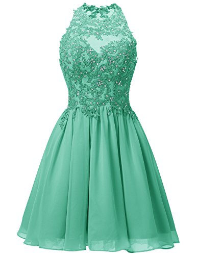 Dresstells Damen Kurz Gipüre Neckholder Ballkleid Homecoming Kleider Grün Übergröße 44W