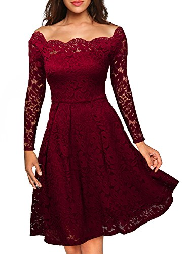 Miusol Damen Vintage 1950er Off Schulter Cocktailkleid Spitzen Schwingen Pinup Rockabilly Kleid