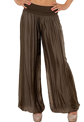 CASPAR KHS010 Damen elegante lange Seiden Chiffon Marlene Hose / Hosenrock mit hohem Stretch Bund, Farbe:dunkelbraun