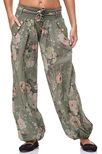 JillyMode Wunderschöne Leichte Haremshose aus Baumwolle in Viele Muster Gr.34-Gr.42 OneSize (H132-Khakigrün)