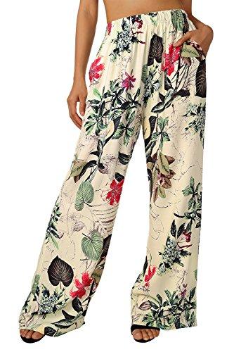 BaiShengGT Damen Blumenmuster Locker Weite Beine Lange Hose mit Seitentaschen Apricot-Blumen M