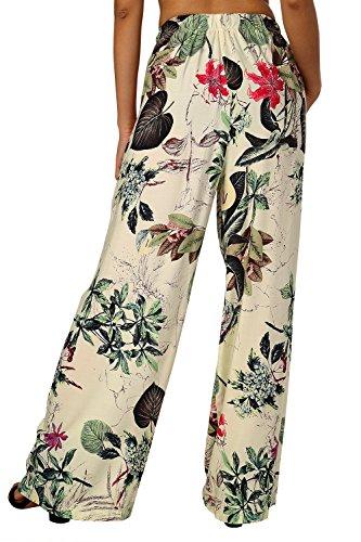 BaiShengGT Damen Blumenmuster Locker Weite Beine Lange Hose mit Seitentaschen Apricot-Blumen M - 3