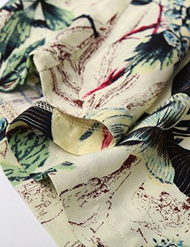 BaiShengGT Damen Blumenmuster Locker Weite Beine Lange Hose mit Seitentaschen Apricot-Blumen M - 4