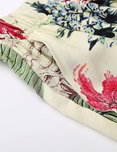 BaiShengGT Damen Blumenmuster Locker Weite Beine Lange Hose mit Seitentaschen Apricot-Blumen M - 5