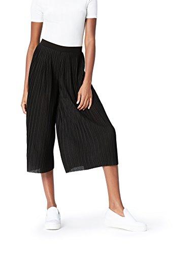 FIND Culottes Damen mit verkürztem und weitem Bein, Plissee-Falten und elastischem Bund, Schwarz (Black), 42 (Herstellergröße: X-Large)