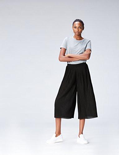 FIND Culottes Damen mit verkürztem und weitem Bein, Plissee-Falten und elastischem Bund, Schwarz (Black), 42 (Herstellergröße: X-Large) - 2
