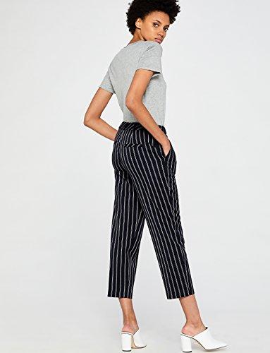 FIND Damen Hose mit Streifen und Weitem Bein, Blau (Navy), 38 (Herstellergröße: S) - 4