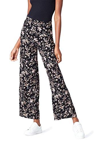 FIND Damen Hose mit Blumenmuster Schwarz (Black Mix), 38 (Herstellergröße: Medium)