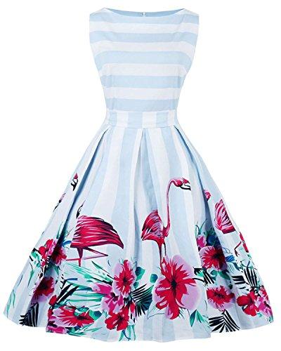 ZAFUL Damen Retro Elegante Cocktailkleider 50er Jahre Hepburn Ärmellos Abendkleid Swing Kleider-Blau Flamingo-XXL