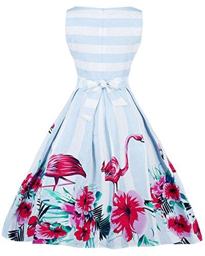 ZAFUL Damen Retro Elegante Cocktailkleider 50er Jahre Hepburn Ärmellos Abendkleid Swing Kleider-Blau Flamingo-XXL - 2