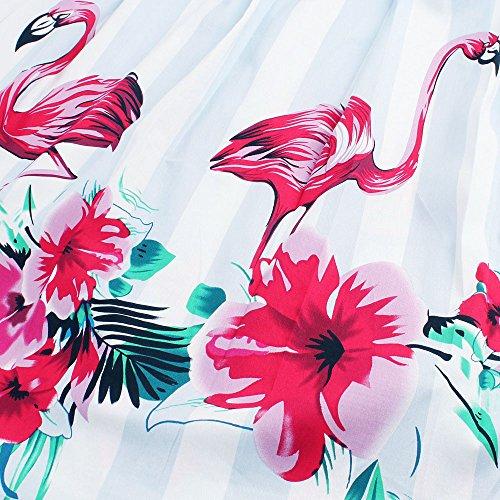 ZAFUL Damen Retro Elegante Cocktailkleider 50er Jahre Hepburn Ärmellos Abendkleid Swing Kleider-Blau Flamingo-XXL - 4