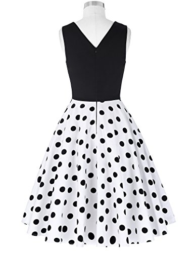 50er jahre kleid vintage rockabilly kleid partykleider hepburn stil polka dots kleid damen swing kleid XL CL0463-2 - 2
