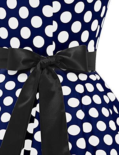 Dressystar Vintage Tupfen Retro Cocktail Abschlussball Kleider 50er 60er Rockabilly Neckholder Marineblue Weiß Dot L - 7
