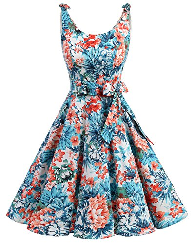bbonlinedress 1950er Vintage Polka Dots Pinup Retro Rockabilly Kleid Cocktailkleider Blue Red Flower S