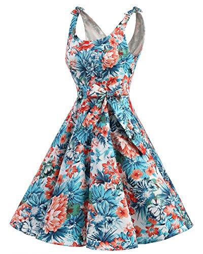 bbonlinedress 1950er Vintage Polka Dots Pinup Retro Rockabilly Kleid Cocktailkleider Blue Red Flower S - 2