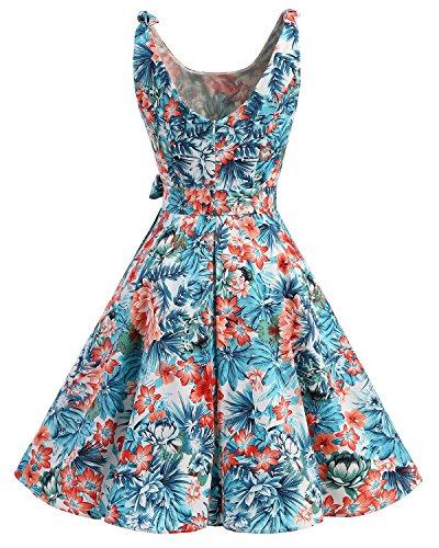 bbonlinedress 1950er Vintage Polka Dots Pinup Retro Rockabilly Kleid Cocktailkleider Blue Red Flower S - 3