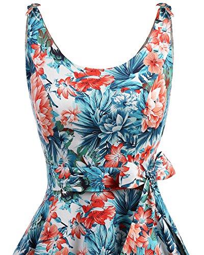 bbonlinedress 1950er Vintage Polka Dots Pinup Retro Rockabilly Kleid Cocktailkleider Blue Red Flower S - 4
