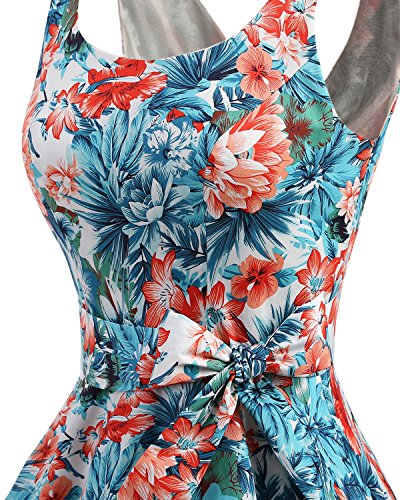 bbonlinedress 1950er Vintage Polka Dots Pinup Retro Rockabilly Kleid Cocktailkleider Blue Red Flower S - 5