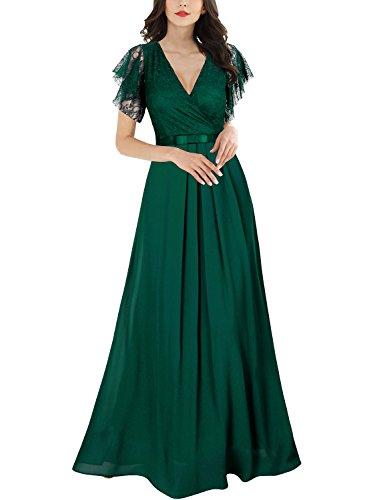 Miusol Damen Aermellos V-Ausschnitt Spitzenkleid Brautjungfer Cocktailkleid Chiffon Faltenrock Langes Kleid Grün XL